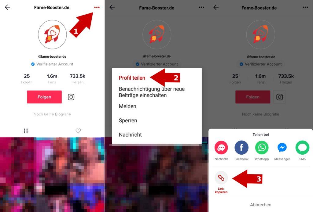 Tik Tok Fans Link zu profil kopieren